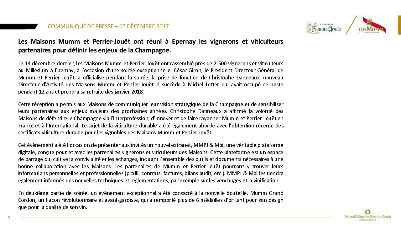 Communiqué de presse MMPJ - Soirée Vignerons 2017