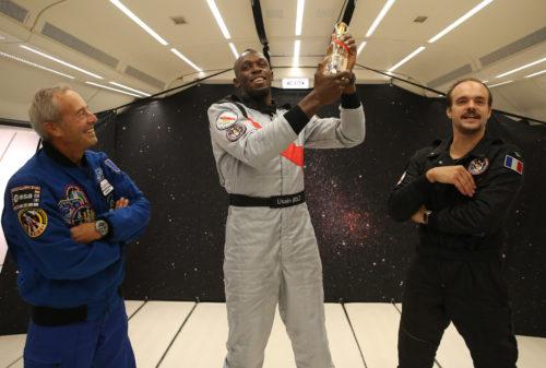 Jean-Francois Clervoy Usain Bolt and Octave de Gaulle Mumm Grand Cordon Stellar
