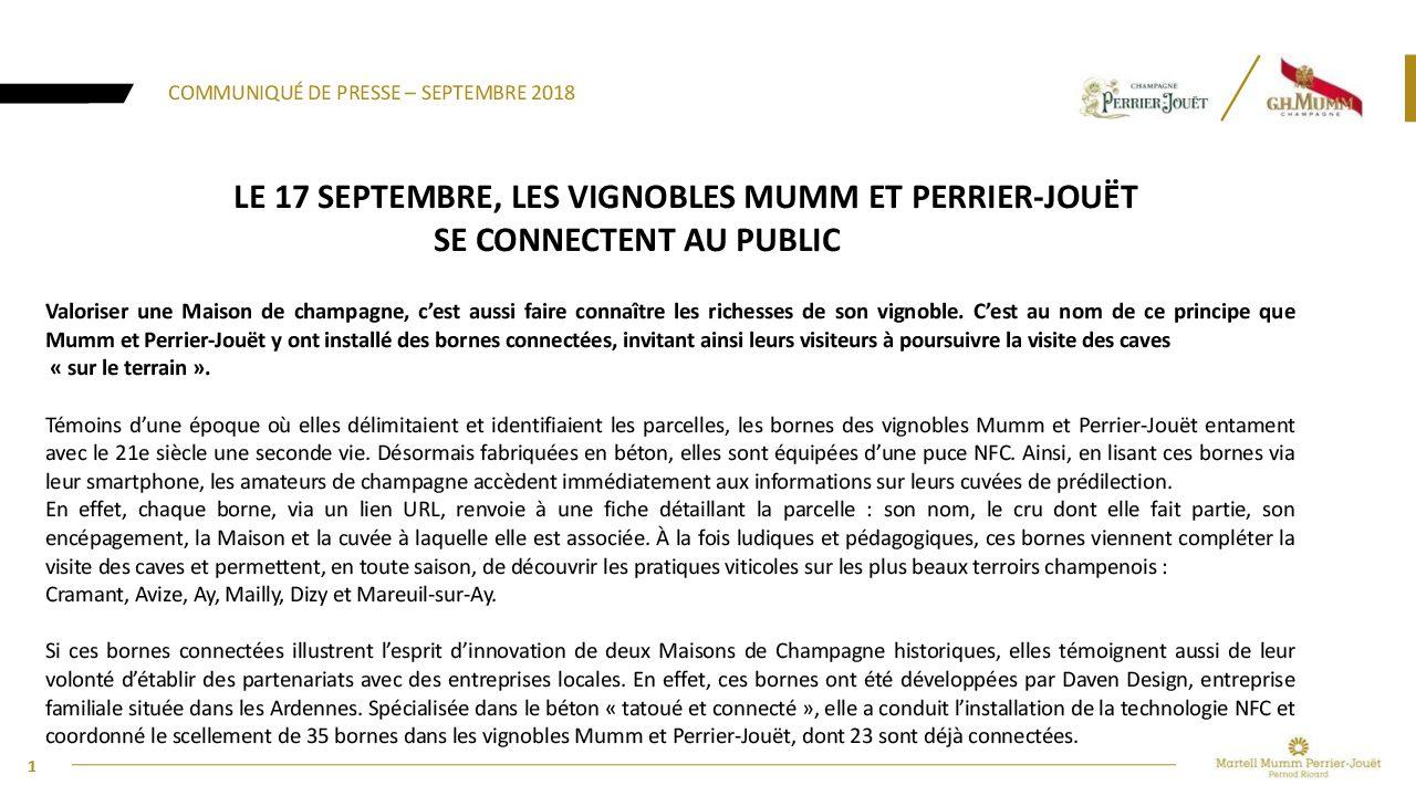 Communiqué de presse Vignobles Mumm  Perrier-Jouët bornes connectées