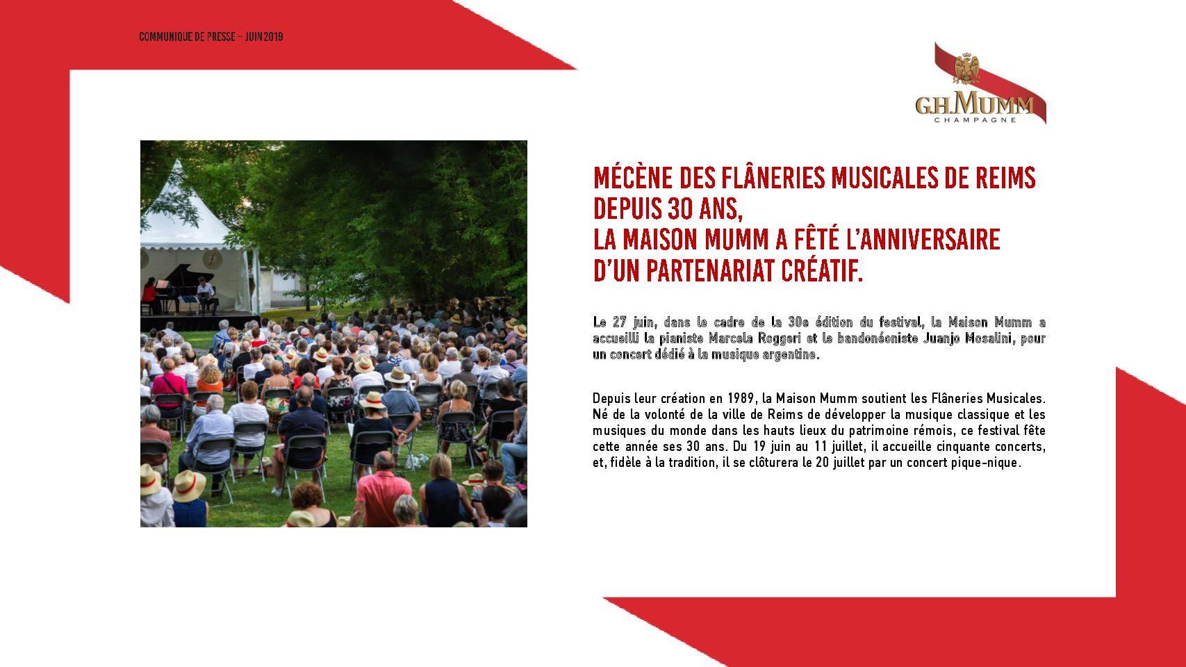 Communique de presse 30 ans Flaneries Musicales x Mumm